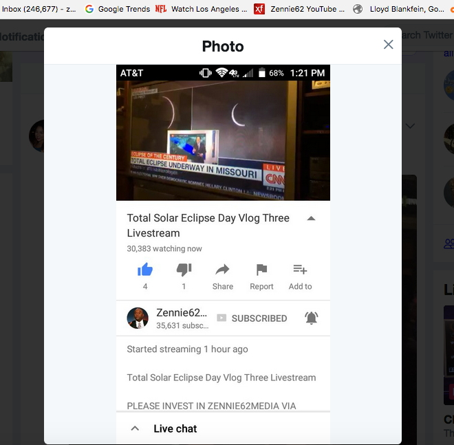 YouTube Must Answer For Theft Of My 30,000 Eclipse Video Livestream Views
